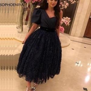Image 2 - New Arrival Black Short muslim evening dress 2020 Lace Beading Muslimische abendkleider Formal dress Party