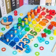 цена на Montessori Educational Wooden Toys Children Math Fishing Counting Numbers Children's Wooden Preschool Montessori Toy Counting