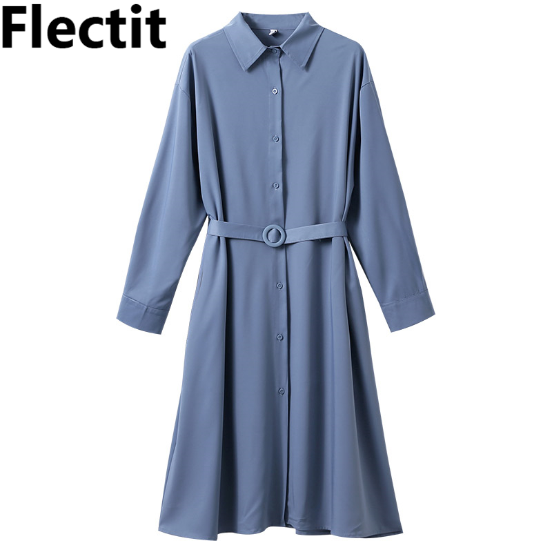 Flectit Women Long Shirt Dress With Belt Button Up Shirt Collar Long Sleeve In Light Blue Spring Elegant Lady Outfit *