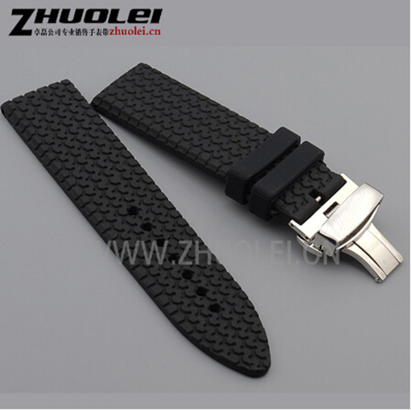 23mm Black  Rubber Watchband For Chopard Watch Strap With Stainless Steel Butterfly Buckle Waterproof Bracelet
