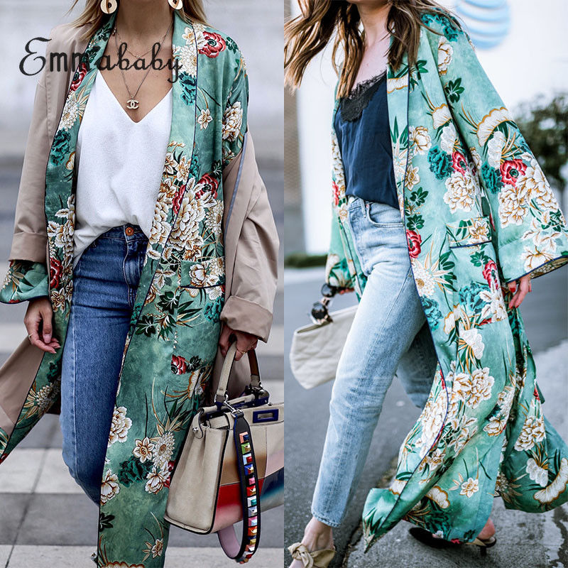 Plus Size Chiffon Loose Shawl Kimono Long Blouse Women's Floral Printed Coats New 2019 Ladies Big Size Long Cardigan Boho Blouse
