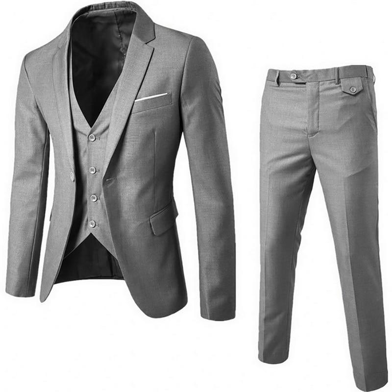 Adisputent 2020 Men's Business 3 Piece Blazer Male Slim Suits Casual Classic Clothes Groomsman Suit Blazers Pants Vest Sets