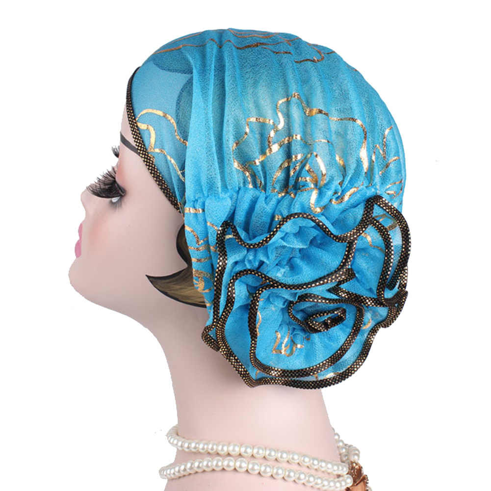Fashion Bunga Besar Muslim Polos Warna Sorban Topi Polyester Golden Stripe Ruffle Kanker Kemo Hat untuk Wanita Peregangan Penutup Kepala