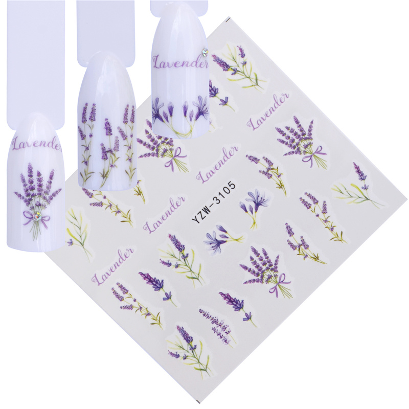YWK 12 Designs Water Decals Slider Summer Lavender Flower Dream Catcher Watermark Nail Sticker  Wraps Manicure