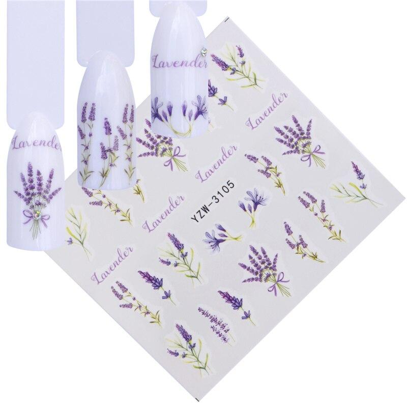 YWK 12 Designs Water Decals Slider Summer Lavender Flower Dream Catcher Watermark Nail Sticker  Wraps Manicure