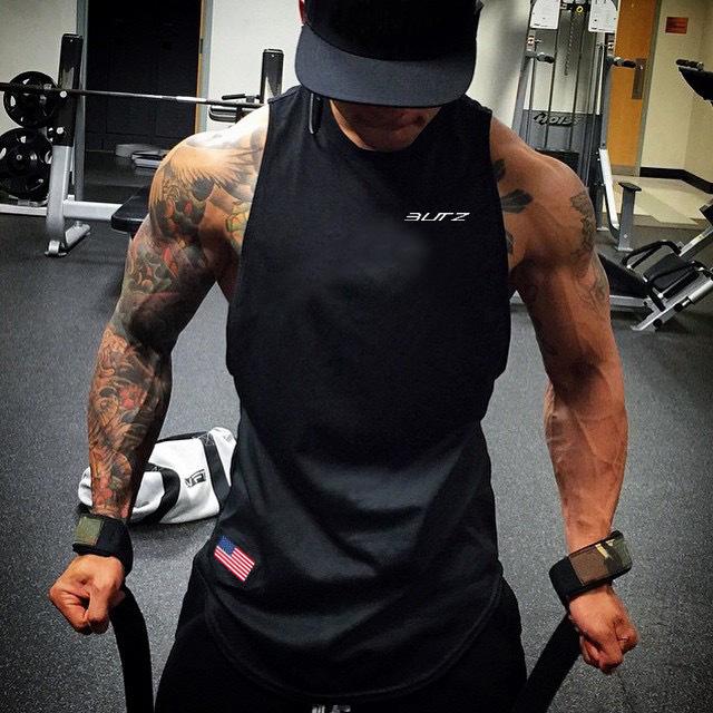 Свободный спортивный мужской жилет для фитнеса Быстросохнущий