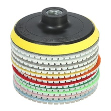 "11pcs 4"" abrasive tools Diamond Wet Polishing Pads sanding Grinding Disc accessories+ 1pc Backing Pad for Marble Stone"