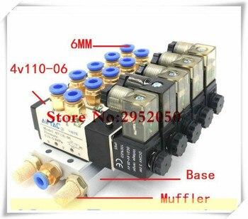 Airtac 5 Way 4V110-06 With LED Indicator Quintuple Electromagnetic Solenoid Valves w Muffler Fitting Base 12v 24v 110v 220v