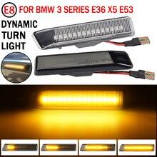 2PCS Dynamische Led Blinker Seite Marker Lichter Fließende LED Side Repeater Lampen Für BMW E36 Für BMW X5 e53 Für BMW 3 Serie