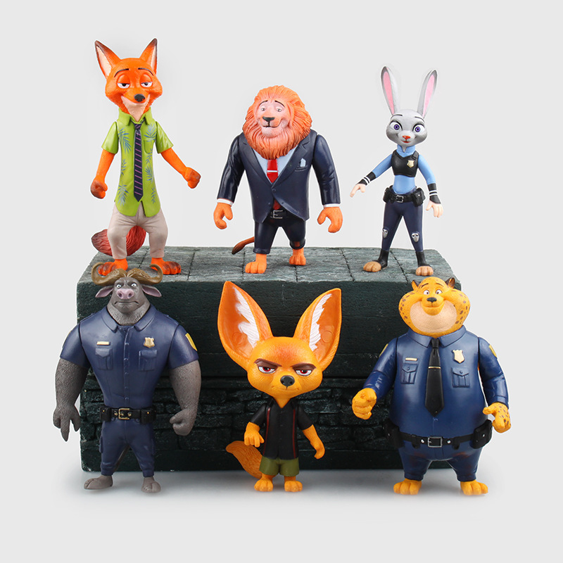 Conjunto de 6 figuras de acción de Disney Pixar, Zootopia, Zootropolis, Cosplay de personajes de Disney, Mickey, Wilde, Judy, Hopps, Fox, Rabbit, juguetes de Anime para niños