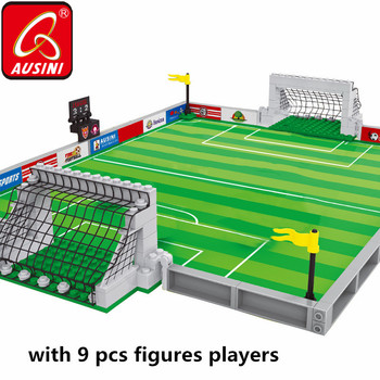 AUSINI Sport Football Field Building Blocks Toys for Boys Children Soccer Players Mini Figures Model Brick Kids Plaything