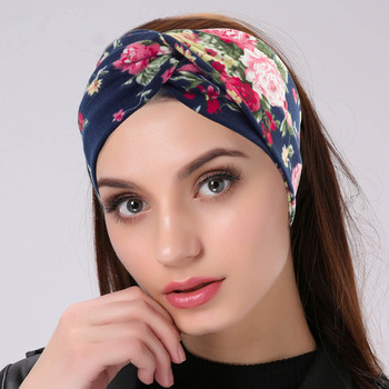 2020 Women Twisted Knotted Summer Bohemia Floral Wide Stretch Hair Band for Girl Elastic Turban Flower Spa Sports Yoga Headbands image