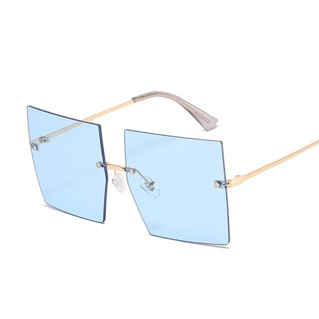 Gafas De Sol cuadradas Vintage para mujer, lentes De Sol De lujo sin montura, De marca De moda, De diseñador, transparentes 2