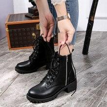 Botas de mujer zapatos de mujer botas de cuero Vintage para mujer zapatos cortos de vaquero de motocicleta zapatos de mujer