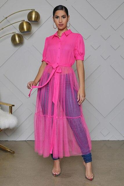Fashion Shirt Style Button Gauze Dress Ladies Long Street Solid Color Dress Casual Home Commuting Dress Female Wholesale 4