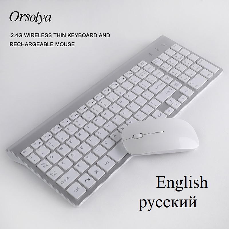 2.4G Wireless Thin Keyboard and Rechargeable Mouse Combo English/Russian letters Keyboard set Silent key For Computer laptop PCKeyboard Mouse Combos   - AliExpress