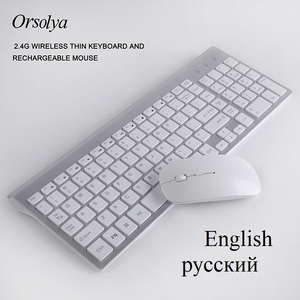 Image 1 - 2.4G Wireless Thin Keyboard and Rechargeable Mouse Combo English/Russian letters Keyboard set Silent key For Computer laptop PC