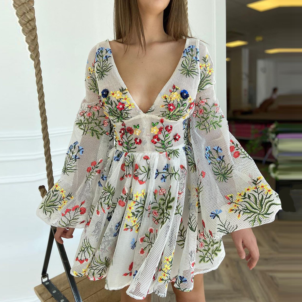 Women Dresses V Neck Floral Print Boho Beach Dress Long Sleeve A Line Mini Dress Sundress Robe Mesh Embroidery Dress Vestidos 6