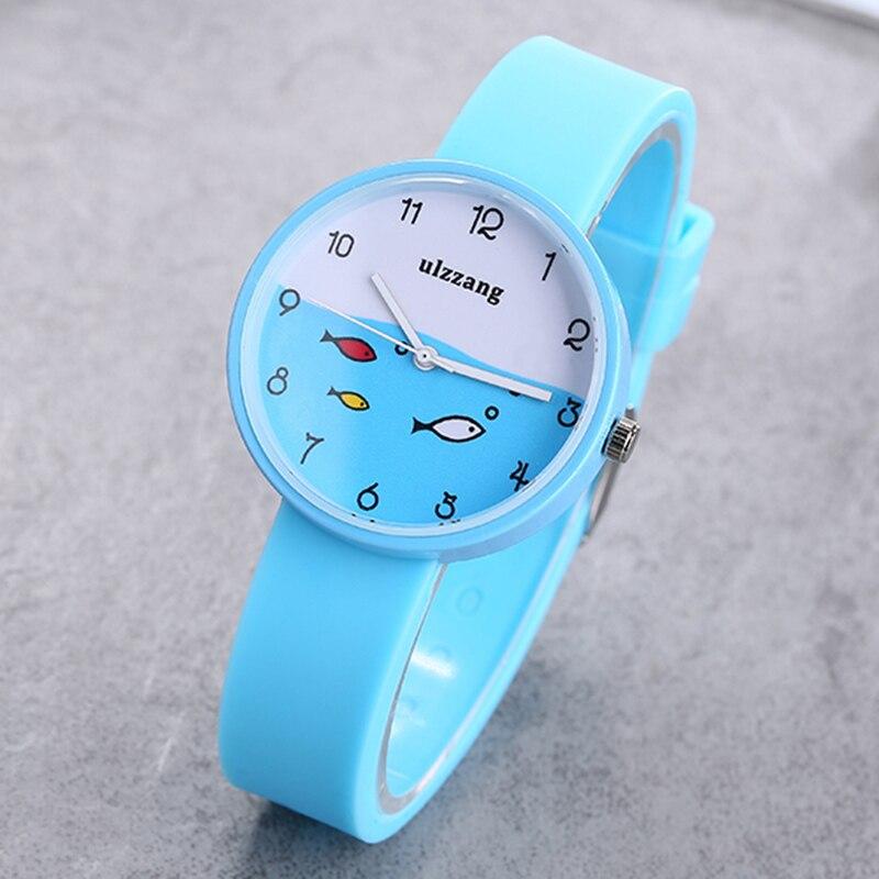 Cute Clever Hildren Watch For Girls Color SiliconeStrap Fashion Quartz Wristwatch Fish Dial Cartoon Kids Clock Relogio Feminino