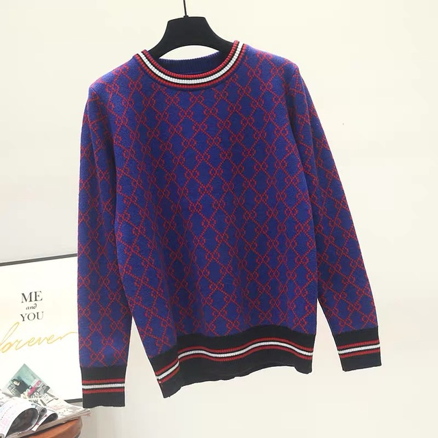 Autumn And Winter New Loose Knit Sweater Korean Style Pullover Round Neck Geometric Clash Jacquard Casual Sweater Jumper 3