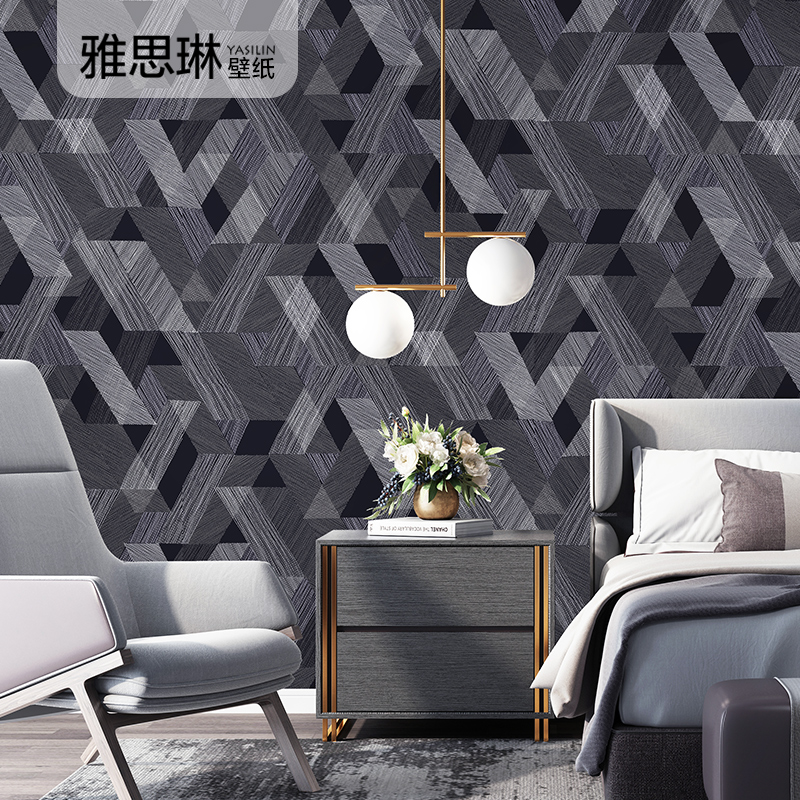 Haute qualité papier peint nordique moderne minimaliste géométrique treillis maison non-tissé salon chambre fond mur gris noir