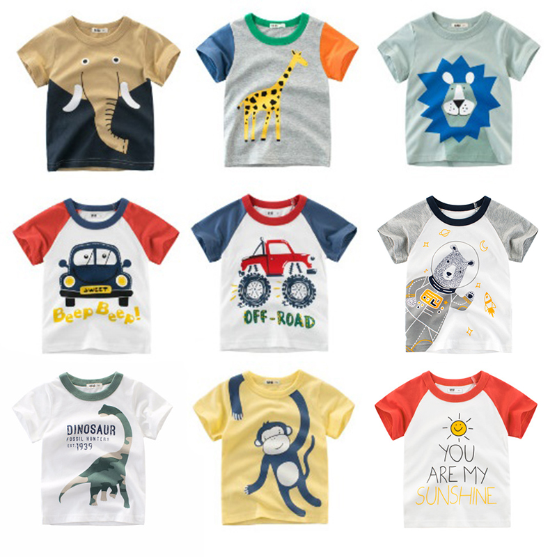 Summer Boy T-Shirts Baby Boy Clothes Kids Tshirt Elephant Lion Cartoon Print Children Tops Infant Toddler Girl Cotton Tee Shirt