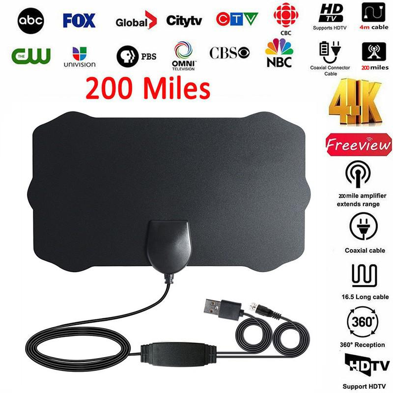 Indoor 200 Miles TV Antenna Digital HDTV Antenna With Amplifier Signal Booster Radius Surf Fox DVB-T2 TV Aerial