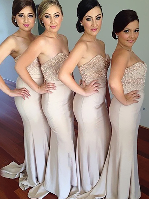 Sweetheart Lace Beads Tops Stretch Fabric Bridesmaid Dresses Mermaid Zipper Back Maid Of Honor Dress For Wedding Party