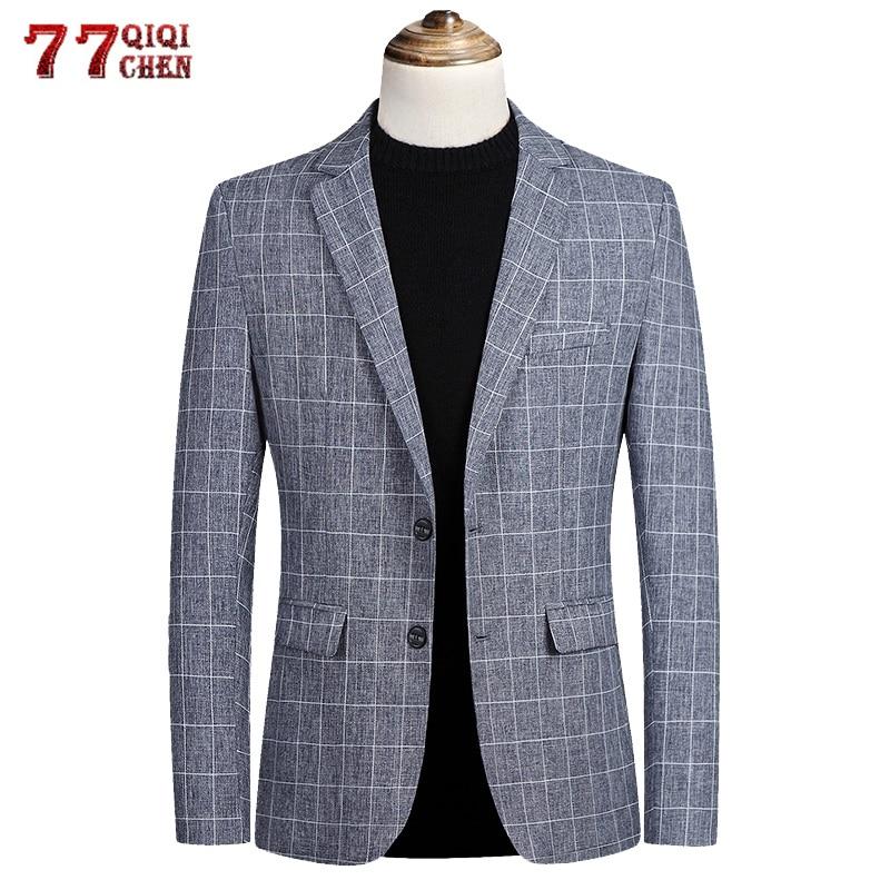 Пиджак блейзер для мужчин весна осень Повседневный приталенный роскошный костюм пальто дышащий полосатый деловой костюм с пиджаком куртки...