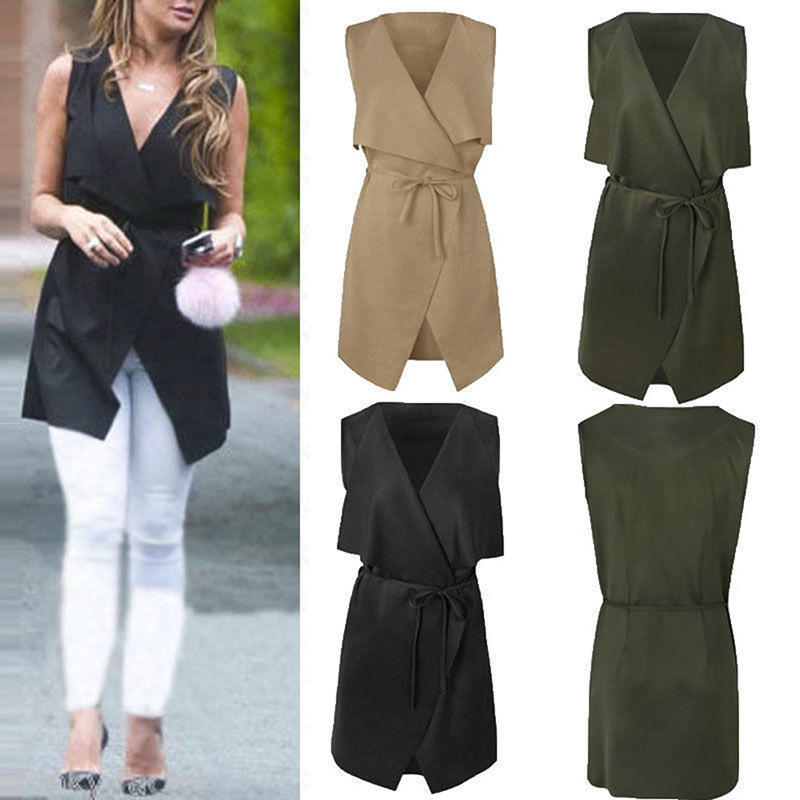 2019 Women Coat Autumn Sleeveless Elegant Waterfall Cape Long Cardigan Plus Size Deep V Ladies Jacket Coat Windbreak W1