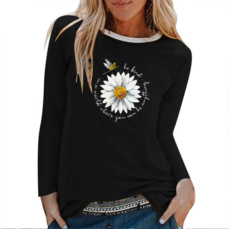 Daisy Dragonfly Be Kind Print Long Sleeve T-shirts Women Autumn Winter Aesthetic Clothes White Crew Neck Tops for Women Ladies 1