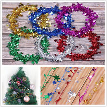 Christmas Tree Hanging Garland Star Pine Tinsel Stars Rattan Christmas Decoration Ornament Christmas Color Stars Rattan 7.5m(China)