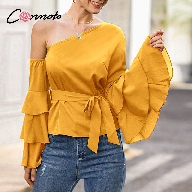 Conmoto High Fashion Sexy Casual Blusas Mujer Blouse Shirts Women  Bow Flounce Ruffles Chiffon Plus Size Blouses