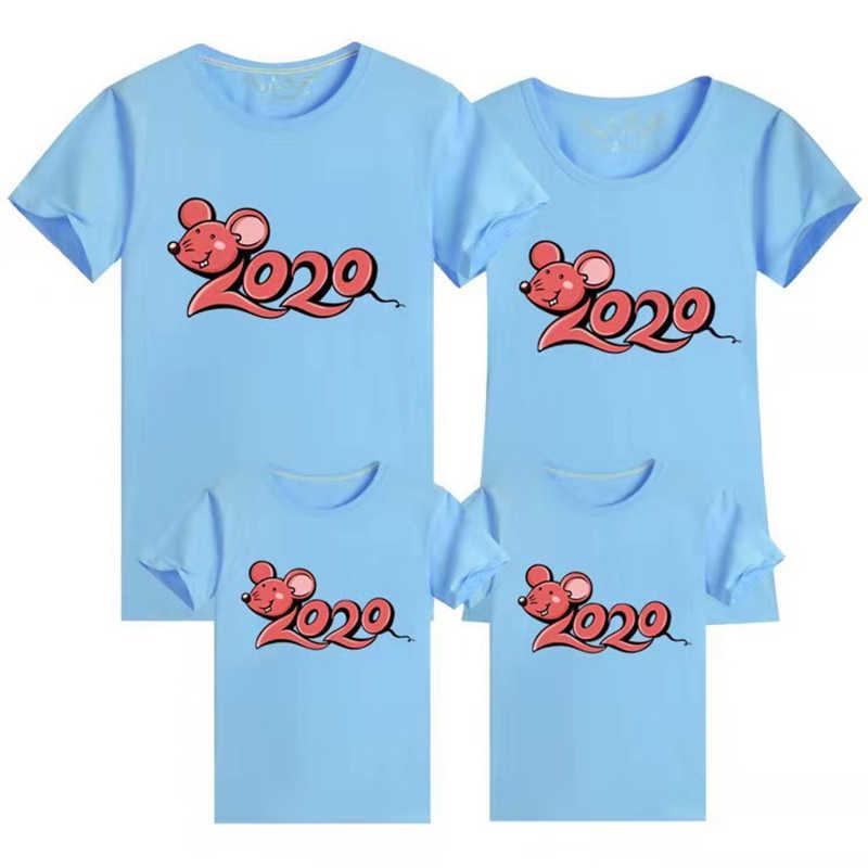 2020 Nuovo Anno di Famiglia Vestiti di Corrispondenza di Stile Del Mouse di Famiglia di Estate T-Shirt Mamma e Figlia Padre e Figlio Vestiti Famiglia Sguardo