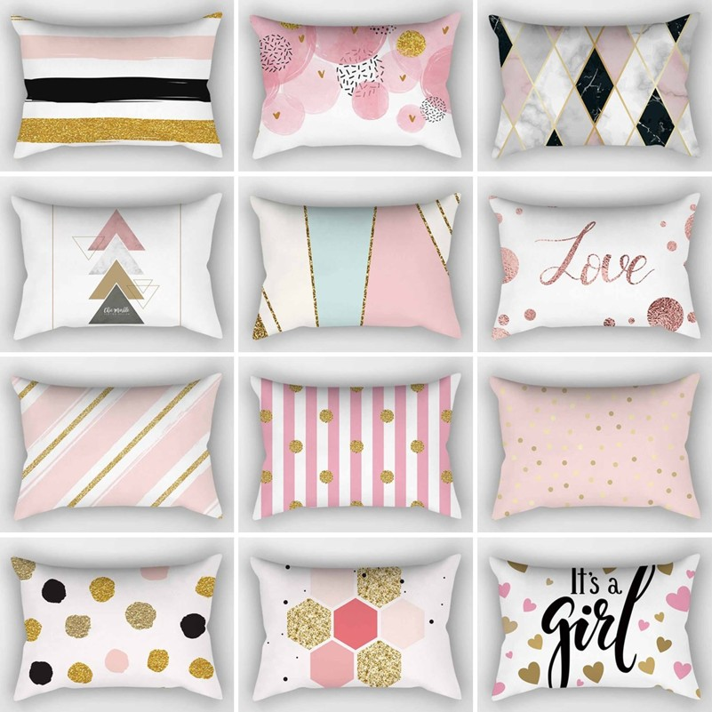 Rose Gold Cushion Cover Pink/&Grey Geometric Marble Pillow Case Sofa Room Decor H