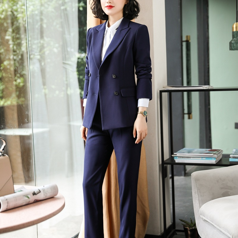 Women's winter suit pants suit High quality casual solid color double breasted blazer and slim trousers Business suit two-piece