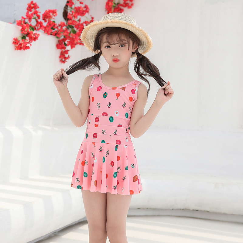 2019 New Style CHILDREN'S Swimsuit Hem One-piece Boxer Korean-style Printed Ultra-stretch Quick-Dry Hot Springs Hot Selling GIRL