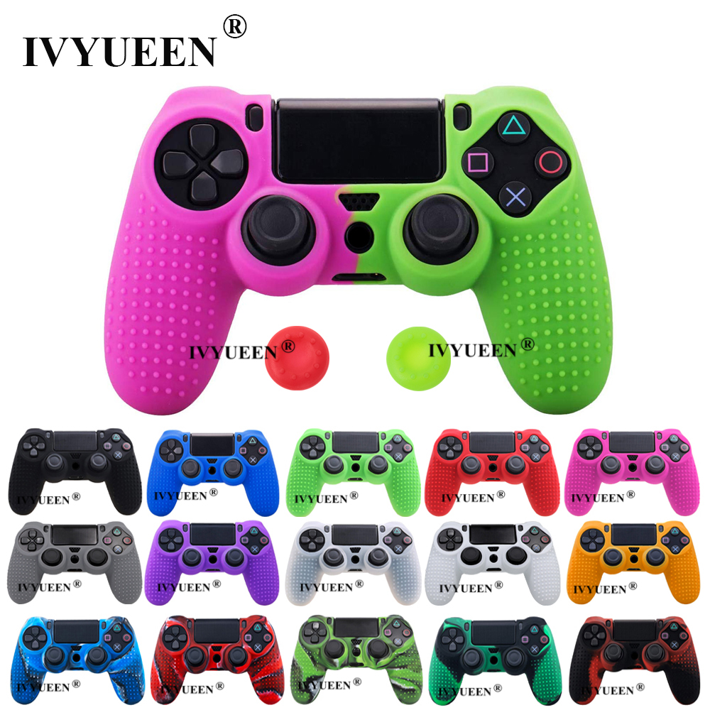 IVYUEEN Studded Silicone Cover Skin Case For Sony PlayStation 4 PS4 Pro Slim Controller Gamepad Cover With 2 Thumb Grips Caps
