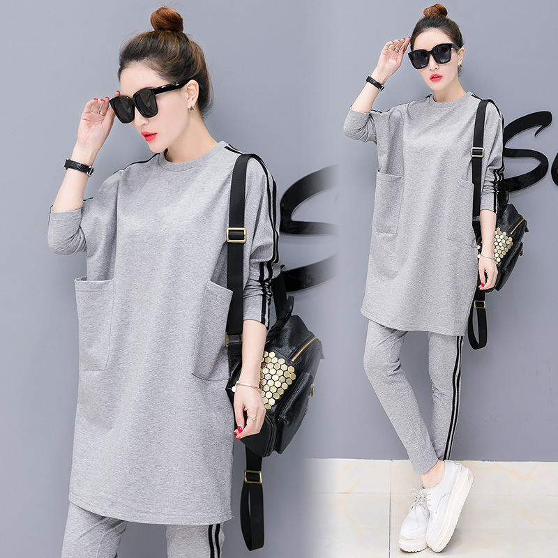 Gray Plus Size Large Tracksuit For Women Outfits 2 Piece Set Winter Autumn Matching Sportwear Pant Suits Top Cothing Co-ord Set