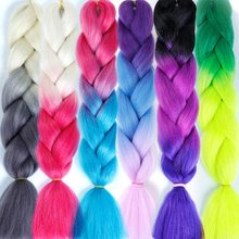 129 Colored Prestretched Straight Ombre Braiding Hair African Afro Jumbo Crochet Braids Blue Expression Synthetic Hair Salonchat(China)