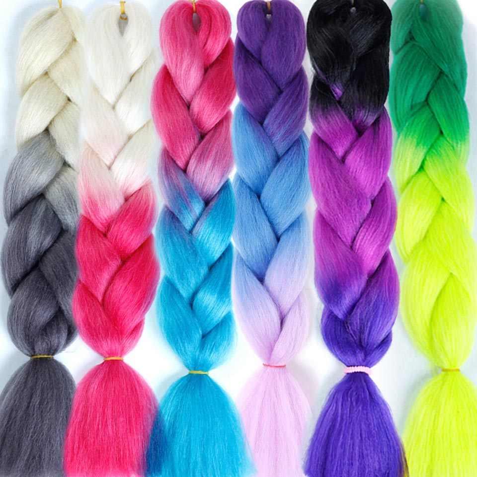 129 цветные растягивающиеся прямые Омбре плетение волос Африканский афро Джамбо крючком косы синий Экспрессия синтетические волосы Salonchat