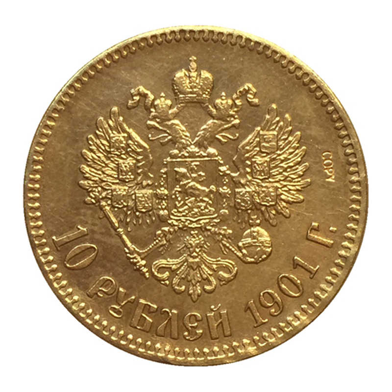 24-K Vergulde 1901 Rusland 10 Roubles Gold Coin Copy