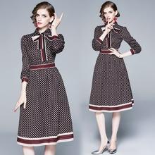 2020 autumn Fall Runway Vintage strip Print  bow Neck Long Sleeve Empire Waist Women Lady Party Casual A Line dot print Dress