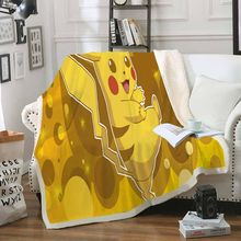 Pikachu Blanket Janpanese Anime Game Character Blanket Sherpa Fleece Plush Throw Balnket Travel Home Warm Blanket Kids Bedding(China)