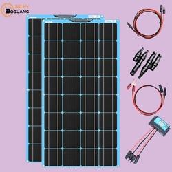 BOGUANG 200 Watt (2szt. 100 W) Panel słoneczny Kompletny zestaw łodzi RV off grid z kontrolerem ładowania + kabel słoneczny do