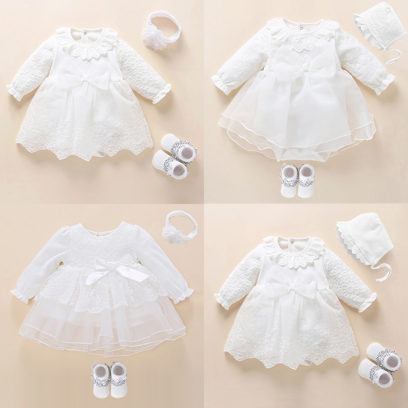 Newborn Baby Girl Dress&Clothes Baptism Dress White Christening Dress For Baby Girl Lace Vestido Bebe Robe Bapteme 3 6 9 Months