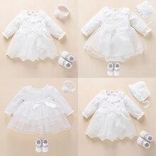 Платье и Одежда для новорожденных девочек, белое платье для крещения, кружевное платье для маленьких девочек 3, 6, 9 месяцев