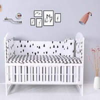4PCS Baby Bed Bumper Room Decor Cartoon Print Sides In The Crib For Newborns 120*30 CM Cotton Cradle Protector Crib Bedding Set