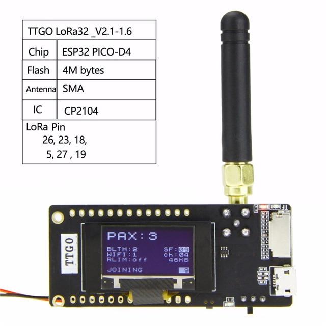 TTGO LoRa32 V2.1 _ 1,6 версия 433/868/915 МГц ESP32 LoRa OLED 0,96 дюймовая SD карта Bluetooth Wi Fi беспроводной модуль с SMA