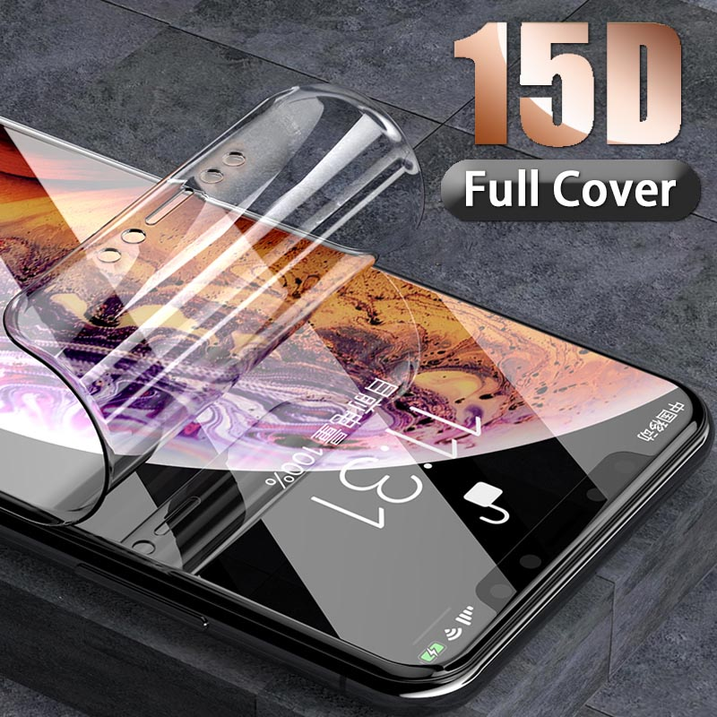 15D Hydrogel Screen Protector For IPhone X XR XS MAX 10 Full Cover Protective For IPhone 8 7 6 6s Plus Protection Film Not Glass
